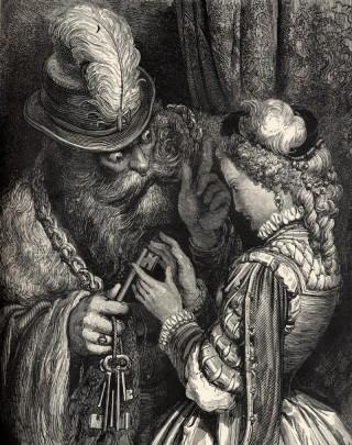 Barbablu, in partenza, consegna le chiavi di casa alla moglie. Tra queste, la chiave della stanza segreta delle torture. Illustrazione di Dorè.